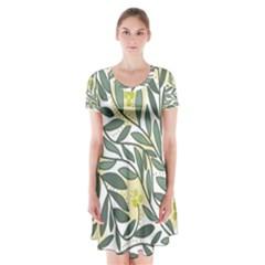 Green floral pattern Short Sleeve V-neck Flare Dress