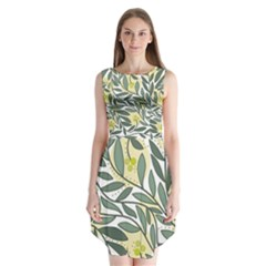 Green Floral Pattern Sleeveless Chiffon Dress