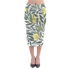 Green floral pattern Midi Pencil Skirt