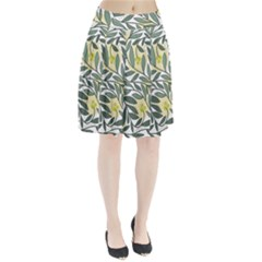 Green floral pattern Pleated Skirt