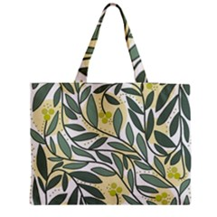 Green Floral Pattern Medium Zipper Tote Bag