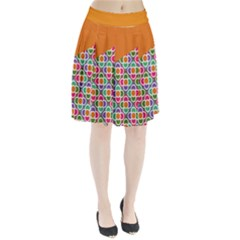 Asymmetric Orange Modernist Floral Tiles Pleated Skirt