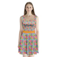 Modernist Floral Tiles Split Back Mini Dress