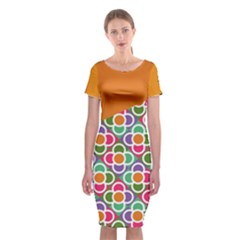 Asymmetric Orange Modernist Floral Tiles Classic Short Sleeve Midi Dress