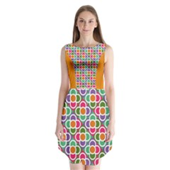 Modernist Floral Tiles Sleeveless Chiffon Dress