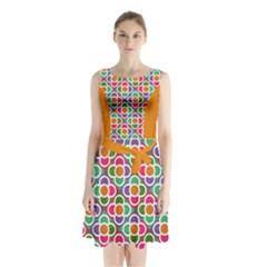 Modernist Floral Tiles Sleeveless Chiffon Waist Tie Dress
