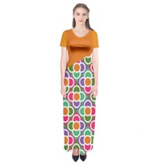 Asymmetric Orange Modernist Floral Tiles Short Sleeve Maxi Dress