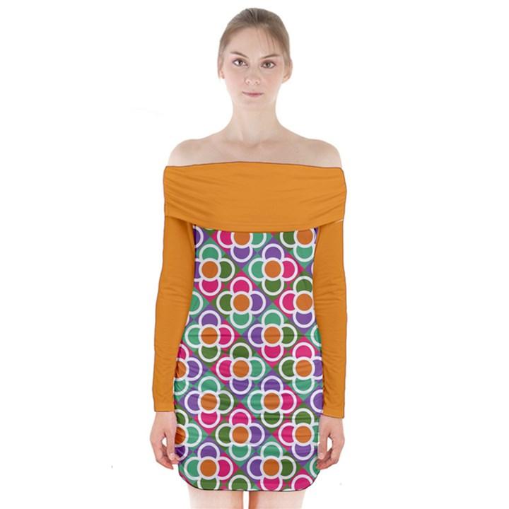 Modernist Floral Tiles Long Sleeve Off Shoulder Dress