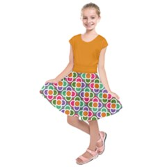 Modernist Floral Tiles Kid s Short Sleeve Dress