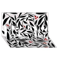 Red, black and white elegant pattern MOM 3D Greeting Card (8x4)
