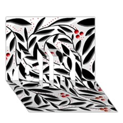 Red, black and white elegant pattern GIRL 3D Greeting Card (7x5)