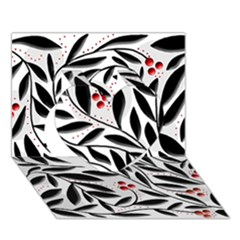 Red, Black And White Elegant Pattern Heart 3d Greeting Card (7x5)