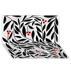 Red, black and white elegant pattern Twin Heart Bottom 3D Greeting Card (8x4)