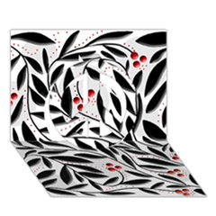 Red, Black And White Elegant Pattern Peace Sign 3d Greeting Card (7x5)