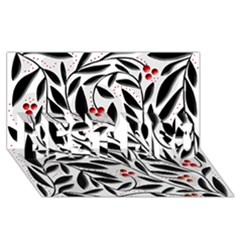 Red, black and white elegant pattern BEST BRO 3D Greeting Card (8x4)