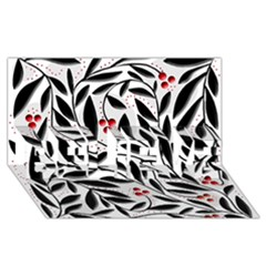 Red, black and white elegant pattern BELIEVE 3D Greeting Card (8x4)