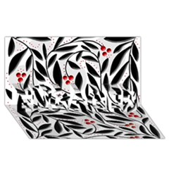 Red, black and white elegant pattern ENGAGED 3D Greeting Card (8x4)