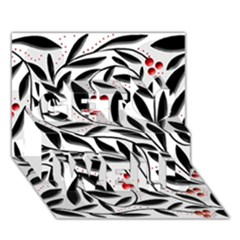 Red, black and white elegant pattern Get Well 3D Greeting Card (7x5)