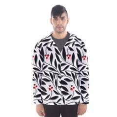 Red, black and white elegant pattern Hooded Wind Breaker (Men)