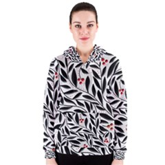 Red, black and white elegant pattern Women s Zipper Hoodie