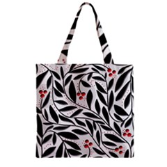 Red, black and white elegant pattern Zipper Grocery Tote Bag