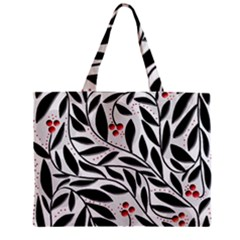 Red, black and white elegant pattern Zipper Mini Tote Bag