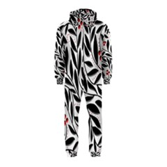Red, black and white elegant pattern Hooded Jumpsuit (Kids)