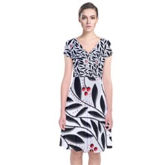 Red, black and white elegant pattern Short Sleeve Front Wrap Dress