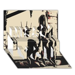 30 Sexy Conte Sketch Girls In Room Naked Ass Butts Shadows Miss You 3D Greeting Card (7x5)
