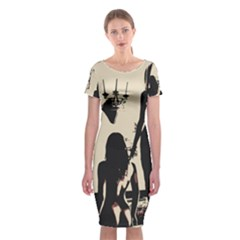 30 Sexy Conte Sketch Girls In Room Naked Ass Butts Shadows Classic Short Sleeve Midi Dress