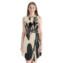 30 Sexy Conte Sketch Girls In Room Naked Ass Butts Shadows Sleeveless Chiffon Dress