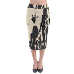 30 Sexy Conte Sketch Girls In Room Naked Ass Butts Shadows Midi Pencil Skirt