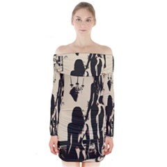 30 Sexy Conte Sketch Girls In Room Naked Ass Butts Shadows Long Sleeve Off Shoulder Dress