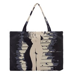 18 Sexy Conte Sketch Blonde Girls Ass Naked Under Garage Wall Door Medium Tote Bag