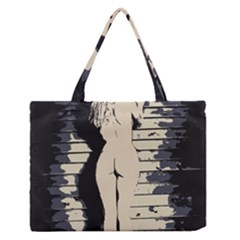 18 Sexy Conte Sketch Blonde Girls Ass Naked Under Garage Wall Door Medium Zipper Tote Bag
