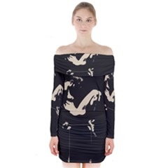 22 Sexy Conte Sketch Girl In Dark Room Naked Boobs Ass Butt Long Sleeve Off Shoulder Dress