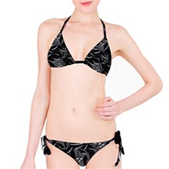 Black floral design Bikini Set
