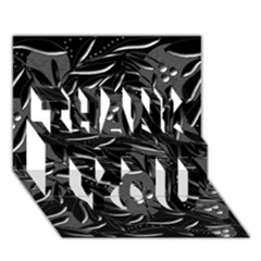 Black floral design THANK YOU 3D Greeting Card (7x5)