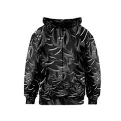 Black floral design Kids  Zipper Hoodie