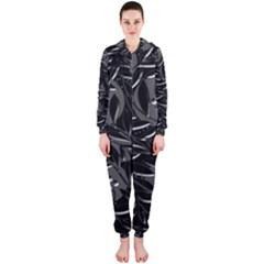 Black floral design Hooded Jumpsuit (Ladies)