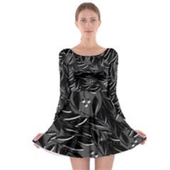 Black floral design Long Sleeve Skater Dress
