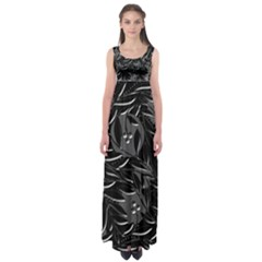 Black floral design Empire Waist Maxi Dress