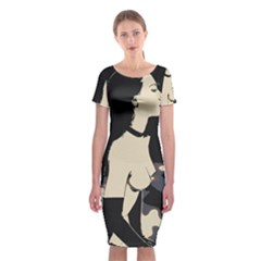 16 Sexy Conte Sketch Girl On Balcony Naked Boobs Nipples Ass Stockings Classic Short Sleeve Midi Dress