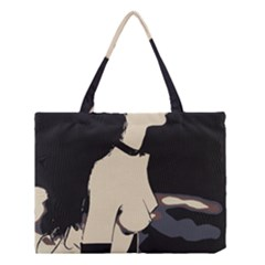 16 Sexy Conte Sketch Girl On Balcony Naked Boobs Nipples Ass Stockings Medium Tote Bag
