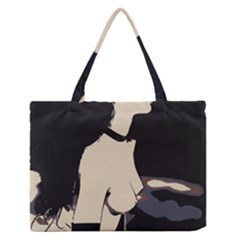 16 Sexy Conte Sketch Girl On Balcony Naked Boobs Nipples Ass Stockings Medium Zipper Tote Bag