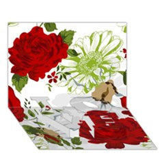 Red Roses Love Bottom 3d Greeting Card (7x5)