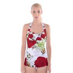 Red Roses Boyleg Halter Swimsuit