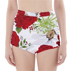 Red roses High-Waisted Bikini Bottoms