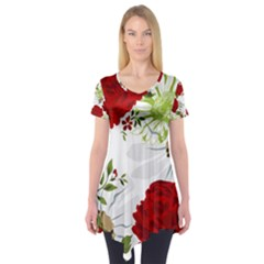 Red Roses Short Sleeve Tunic