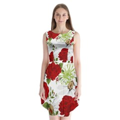 Red roses Sleeveless Chiffon Dress